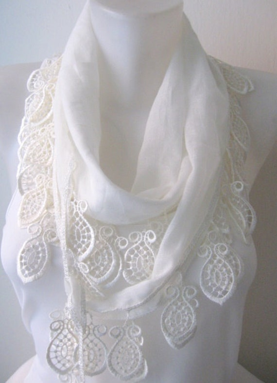 Traditional  Turkish Fabric CREAM Guipure  Scarf ..wedding,bridal,authentic, romantic, elegant, fashion