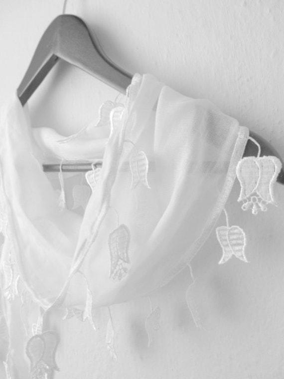 Traditional  Turkish Fabric Fringed WHITE Guipure  Scarf ..bandana,headband,wedding,bridal,authentic, elegant, fashion