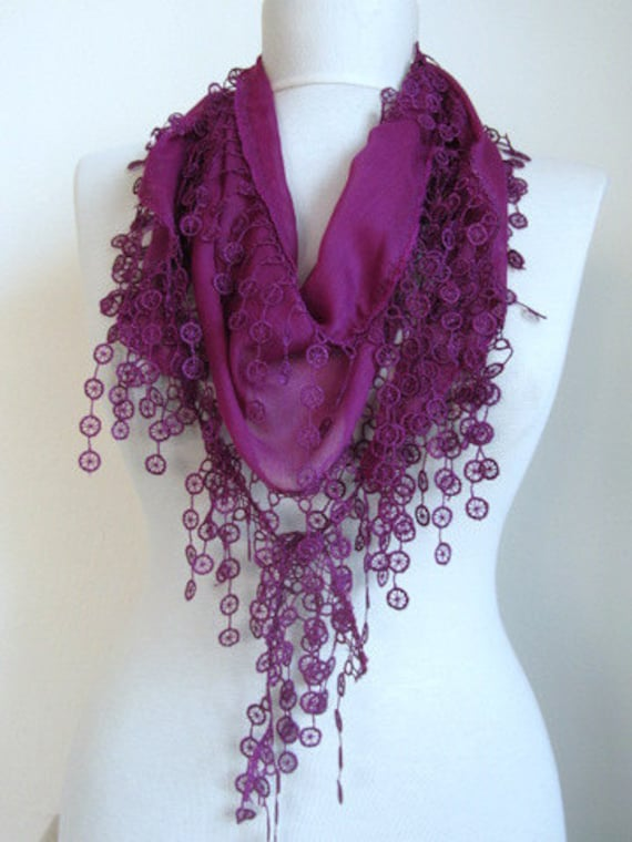 Byzantium,Dark purple,Dark orchid,Turkish Fabric Fringed Guipure Scarf ..Belt,bandana,headband,wedding,bridal,authentic, elegant, fashion