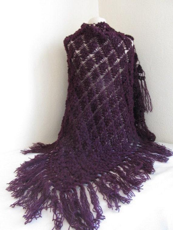 FREE SHIPPING..DARK Eggplant Purple mohair tringle shawl...teal blue shawl.fashion, necktie, shrug, wrap, stole, capelet, scarflette