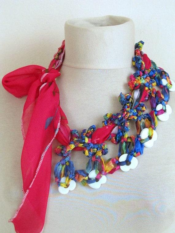 YEMENI  necklace hot pink,amarant,dark blue, multicolor, romance ,valentine