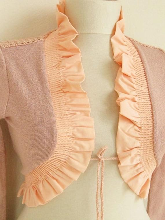 Deep Champagne,Deep Peach, Salmon-Crochet  Shrug - Soft Elegant  Bridal Shrug Bolero