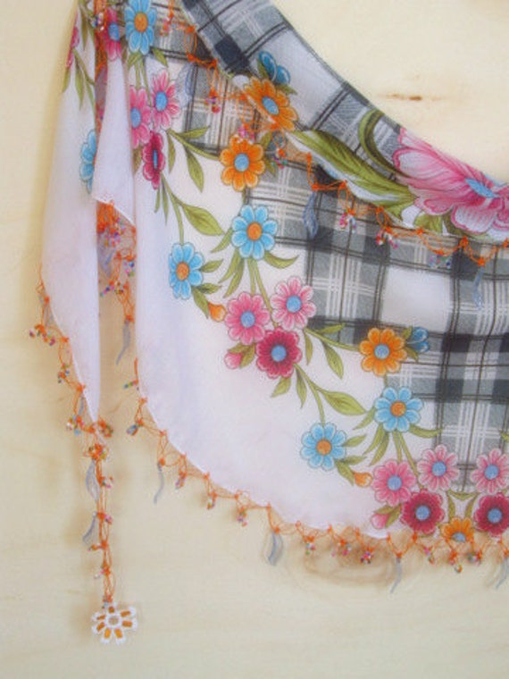 FREE...WHITE mixed colorful, Traditional Turkish Oya  Scarf,authentic, romantic, elegant, fashion,weddings,bridal,vintage,rustic