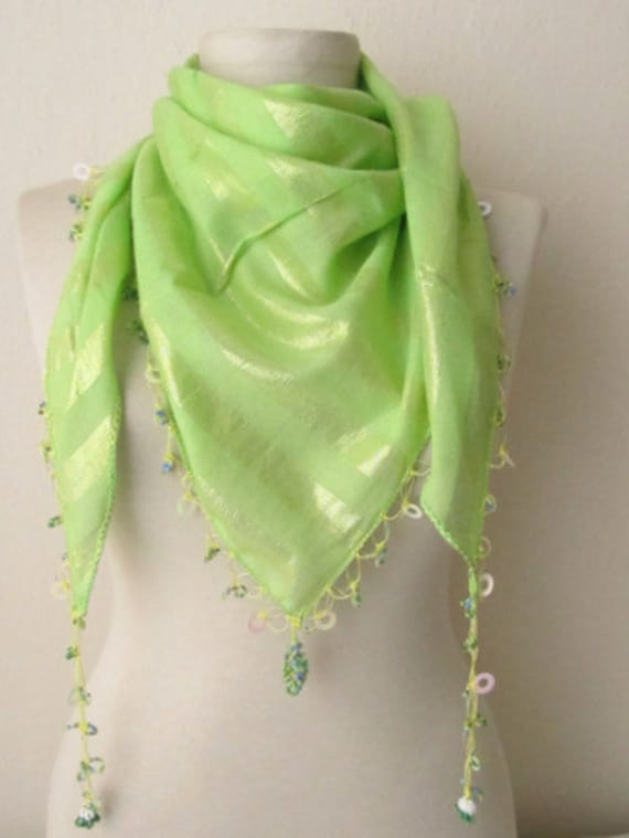green scarf - cotton scarf - Oya Scarf - scarf fashion - floral scarf -scarf accessories -scarf sale