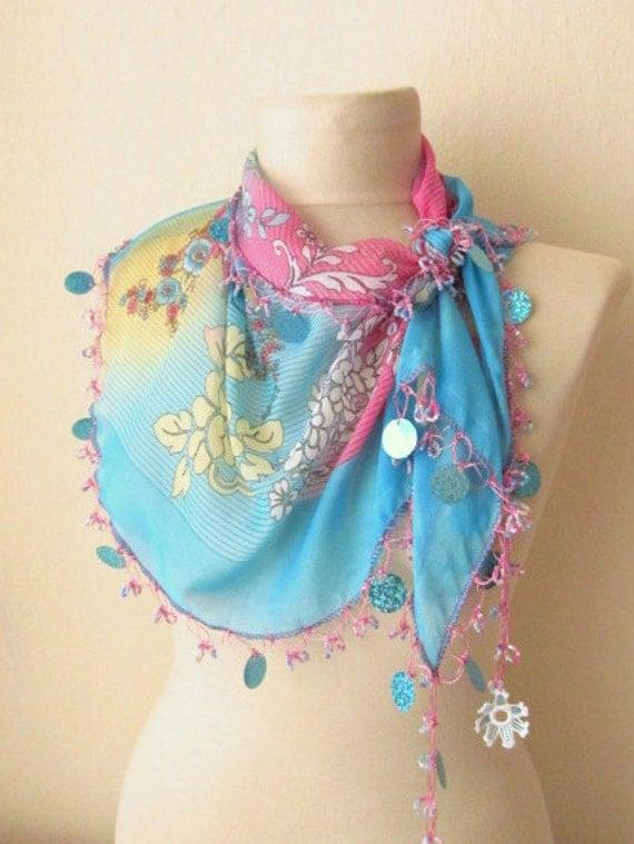 Christmas gift -Traditional Turkish YEMENI  BLUE-AQUA Oya Scarf ..wedding,bridal,scarf,authentic, romantic, elegant, fashion,april,spring
