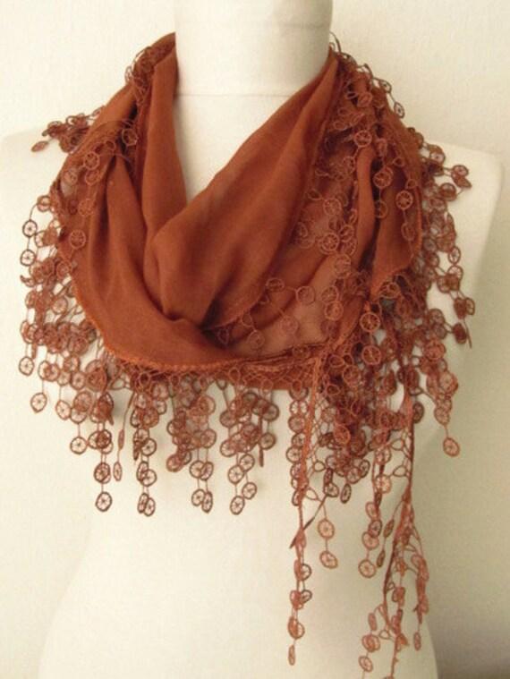 CINNAMON Turkish Fabric Fringed  Guipure  Scarf ..bandana,headband,wedding,bridal,authentic, elegant, fashion