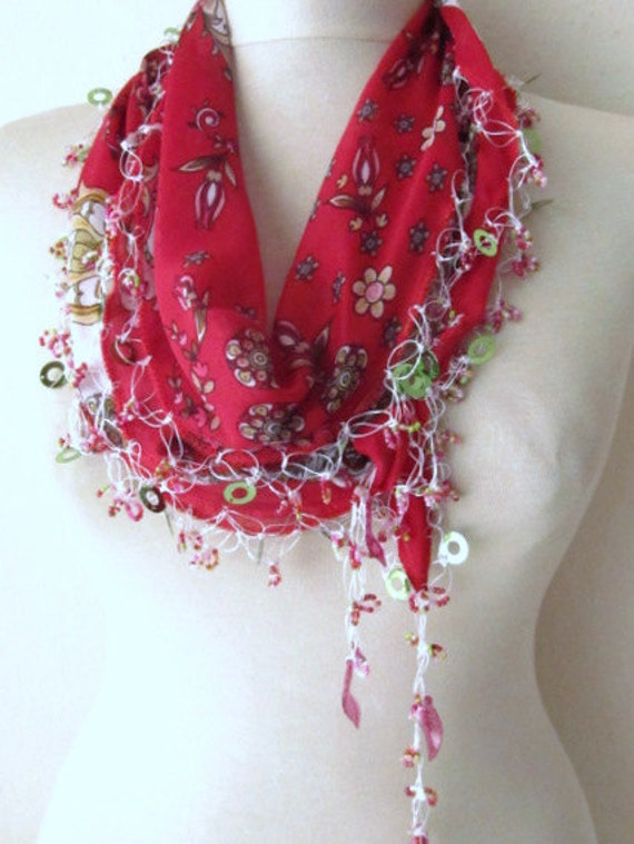 DARK Pomegranate Multicolor Turkish Yemeni OYA Scarf ..bridal,scarf,authentic, romantic, elegant, fashion,