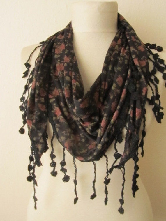 DEFECTIVE..DISCOUNT..Tringle Cotton Fabric Tiny Flowers BLACK Scarf..authentic, romantic, elegant, fashion