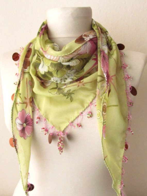 Tringle  Pistachio Green -Pear Yemeni Oya Scarf .authentic, romantic, elegant, fashion,green scarves