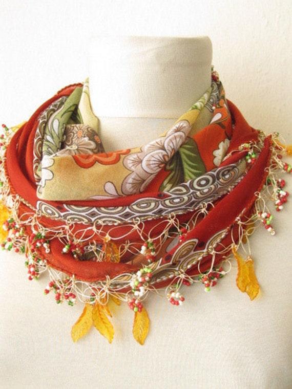 CINNAMON  scarf -Turkish Yemeni OYA Scarf -asuhan-crochet scarf