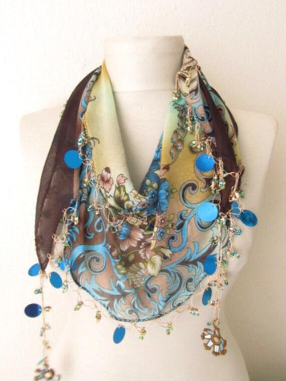 Fashion Accessories - Valentines day gift - turkish scarves - Oya Scarf- scarf fashion -floral scarf -scarf accessories -scarf sale
