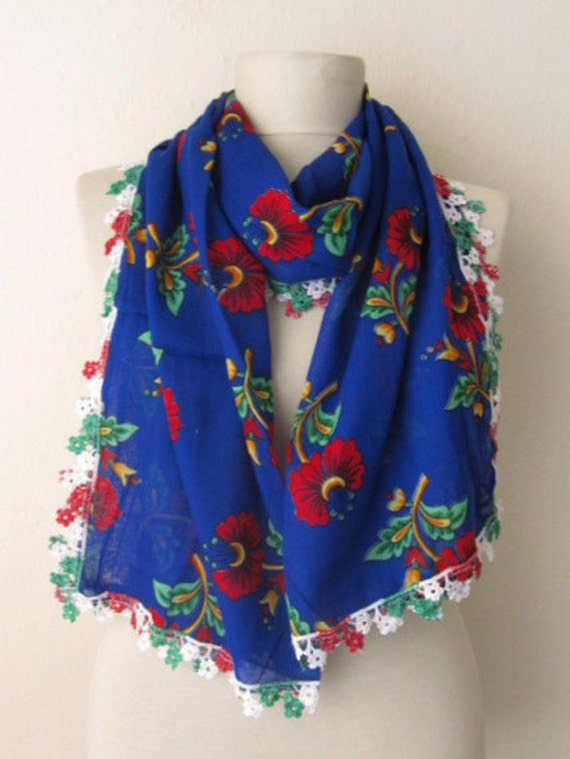 Traditional  Turkish Flowers  Fabric Rectangle  Guipure  Scarf ..authentic, romantic, elegant, fashion