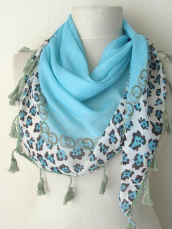 Turquoise - Aqua - Tasseled Tringle scarf - Turkish Yemeni Scarf -women blue scarf
