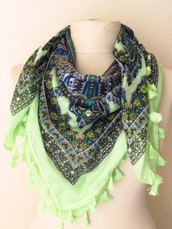 SQUARE Tasseled Turkish Cotton  Scarf ..%100 Cotton..bridal,scarf,authentic, romantic, elegant, fashion,