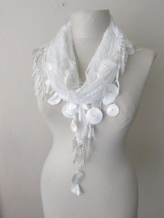 Tulle Fabric Fringed  Guipure  Scarf-Gift ..shawl,authentic, romantic, elegant, fashion