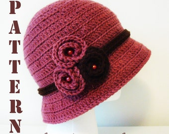 Symbol Crochet PATTERN & Colorful step by step images - PDF format - Crochet Bucket Cloche - Instant download