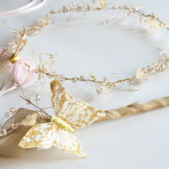 Reserved for RalucaM - 1 Yellow /Gold and 1 Pale Pink Shimmering Butterfly Rennaisance Fairy Crowns and Wands