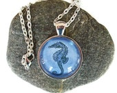 Sea Horse Necklace, Blue and Silver
