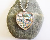 Portland Oregon Necklace, Heart Shaped Map Necklace - Portland Jewelry - Silver or Bronzed