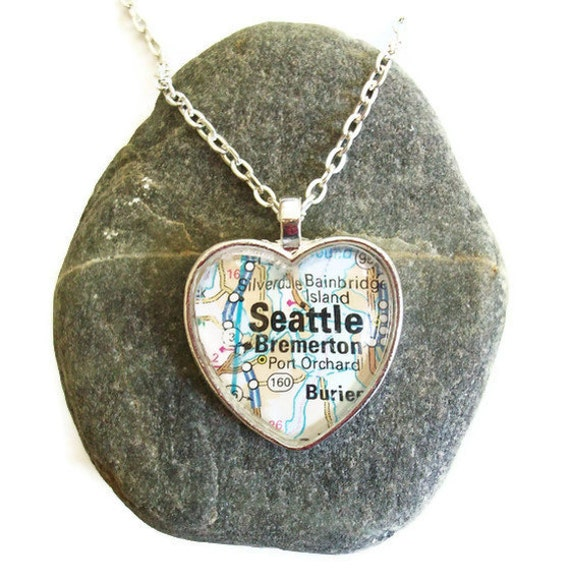 Seattle Map Necklace, Heart Pendant with Chain, Washington Necklace, Bronzed or Silver Plated