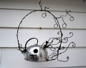 Singing Tea Kettle Birdhouse with Barbed Wire