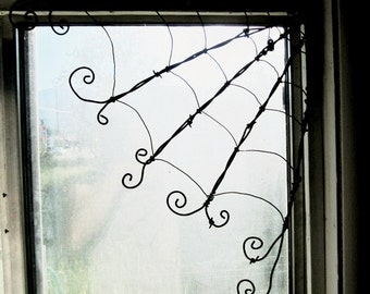 "Wicked Wee Barbed Wire 12""  Corner Spider Web Twisted For Halloween"