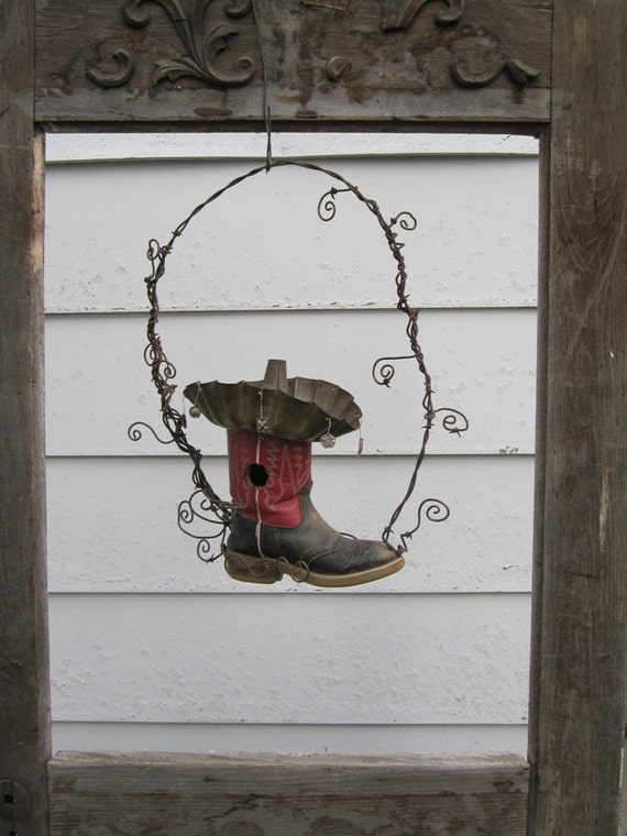 Unique Cowboy Boot And Barbed Wire Birdhouse Rustic