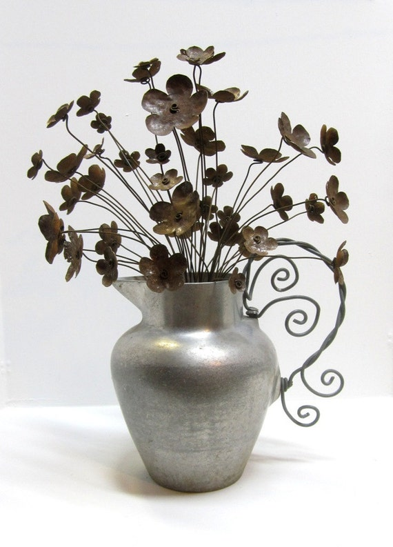 Perfect Pitcher of Pretty Posies Rusted Flower Bouquet