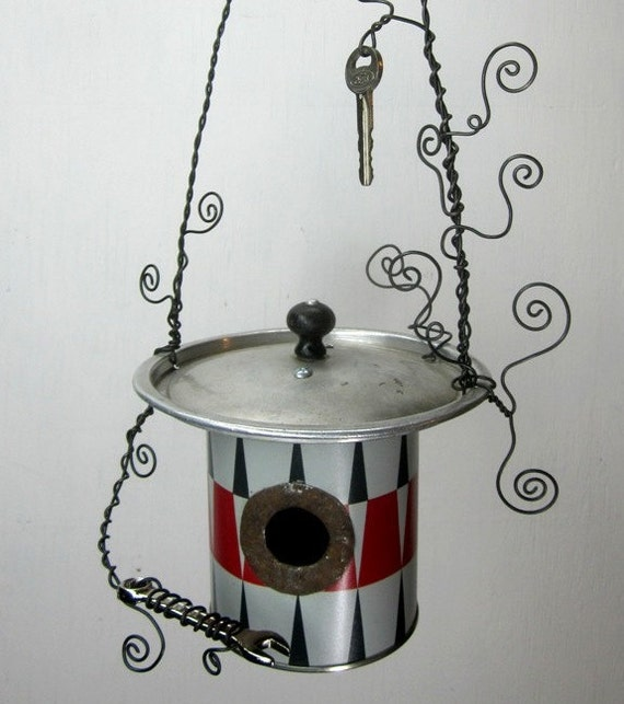 Unusual Black and gray Diamonds Birdhouse With Wrench and Key