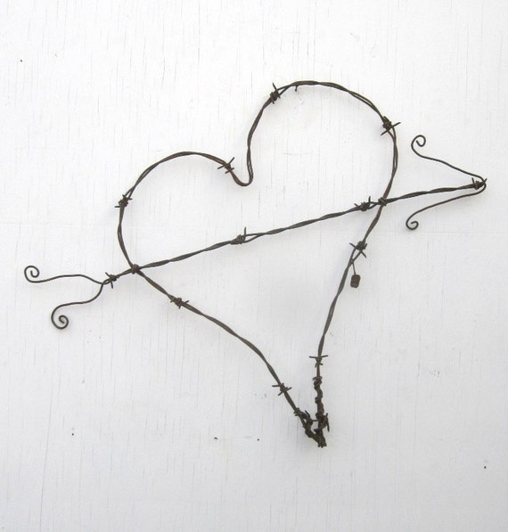 Gnarly Barbs Large Rustic Barbed Wire Heart With Arrow Made to Order