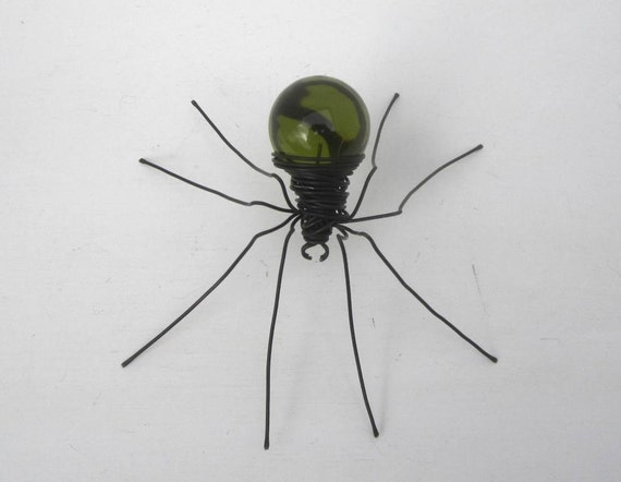 Lurking Green  Spider Repurposed Art