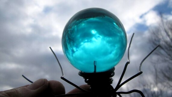 Blue Spider Sculpture Repurposed Art