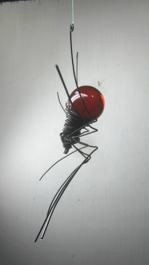 Blood Red Sun Catcher Window Spider Hanging Art  Made to Order