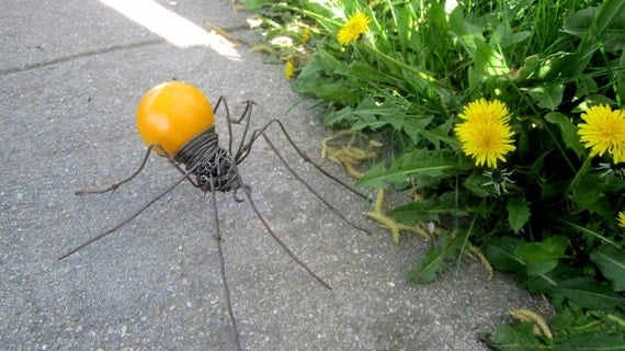 RESERVED Custom Order Yellow Billiard Ball Spider with Delicate Barbed Wire  Legs Reclaimed Sculpture