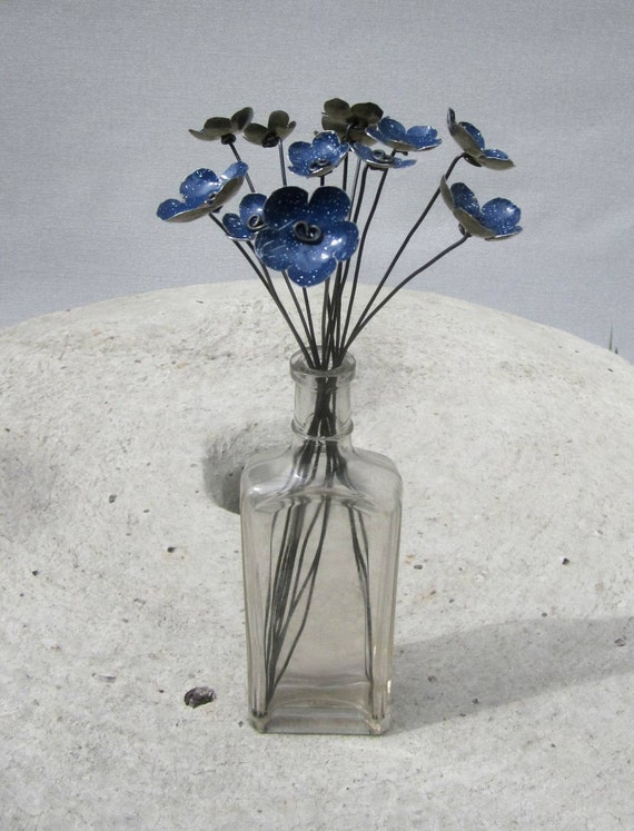 Blue Metal Blossoms Speckled White Rustic Flower Bouquet