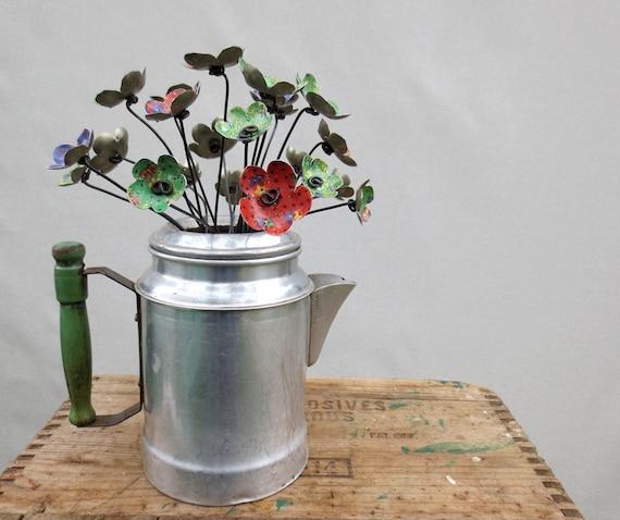 Simple Prairie  Bouquet of Metal Flowers  In Vintage Coffee Pot Vase