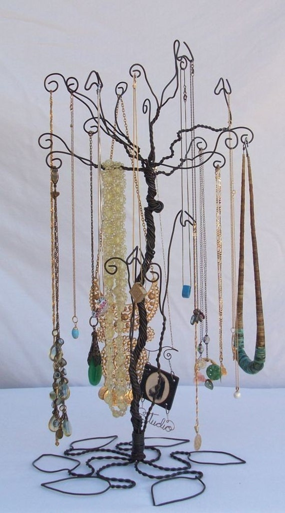 wire necklace stand jewelry tree holder metal sculpture pre