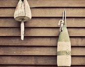Lobster Buoys on Weathered Boathouse - Beach Cottage, Lakehouse, Travel Photography, Shabby Chic Decor, Nautical Decor, Maine Photography