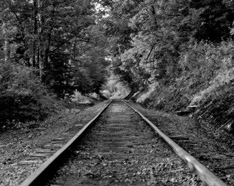 Railway Travel Photography - Railroad Tracks - Monochrome - The Magician's Rod 5x7 Black & White Photograph