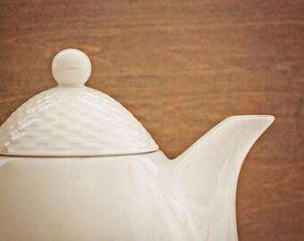 Teatime - 5x7 Fine Art Photograph of a porcelain teapot - Kitchen decor - Cottage Decor - Cafe decor
