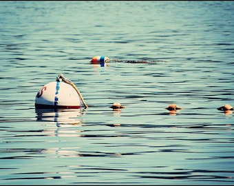 Nautical Photograph Boating Buoys Floating in Blue Atlantic Ocean Acadia Maine Fine Art Photograph