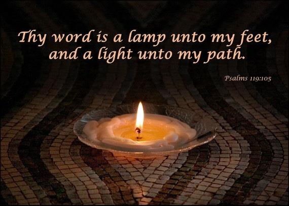 Psalm 119 - Scripture Art - Custom Art - Christian Art - Oil Lamp Photograph - Made to Order