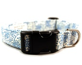 Country Print Blue and White Fabric Handmade Dog Collar