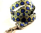 Blue and Green Geometric Patterned Dog Leash
