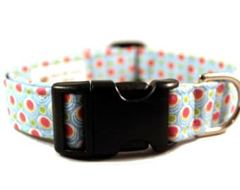 Dog Collar Dippin Dots Ice Blue with Pink Polka Dots Fabric