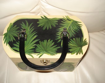 Hand painted wooden purse with Palm Trees