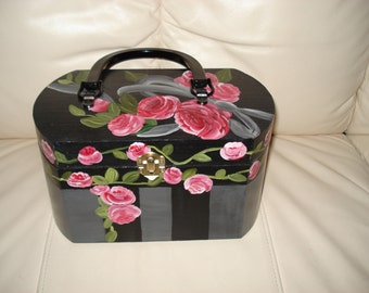 Hand painted wooden purse with red roses