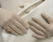 Vintage 1950's - 1960's Betty Draper Sparkling Gold Gloves To Go With Your Prom Dress