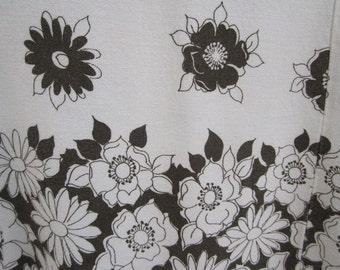 Vintage 1960's Mr.Simon Linen Mod White & Brown Floral Wiggle sleeveless Sundress