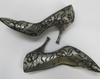 Sexy Vintage 1950's Bombshell Pumps - Black Lace on Silver  Lifestride Heels size 7AA